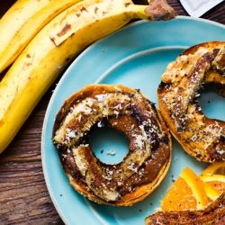 Grilled Banana Maui Bagels with melted chocolate hazelnut and almond ...