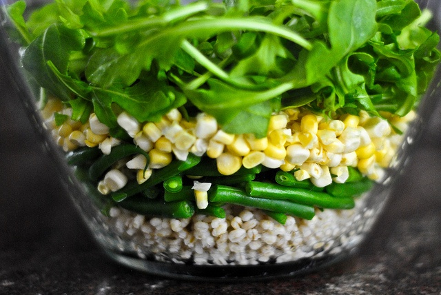 barley, corn and hericot vert salad with goat cheese -one with egg ...