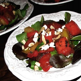 Tomato Watermelon Salad with Toasted Almonds and Feta