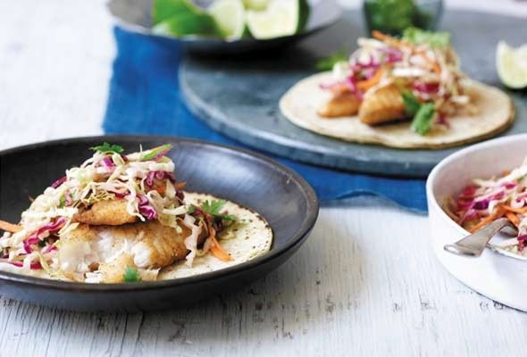 Fish Tacos with Creamy Chipotle Cabbage Slaw from Leite's Culinaria