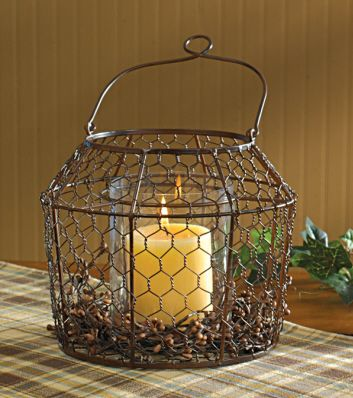 Chicken wire lantern candles candles candles pinterest for Wire candle lantern