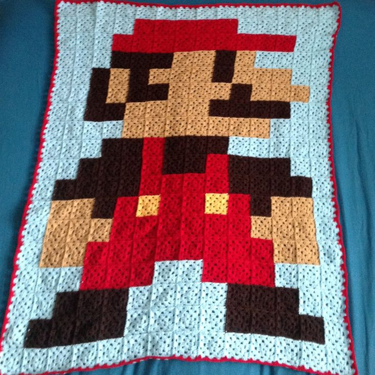 Crochet Pattern For Mario Blanket : Crochet granny square mario blanket :) Knitting ...