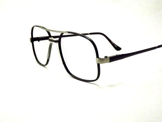 industrial metal mens aviator eyeglasses large black