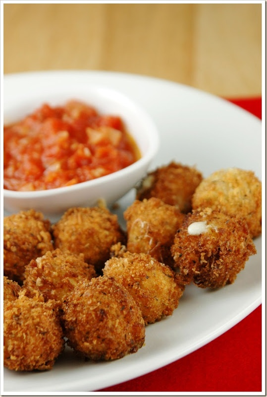 Fried Mozzarella Balls with Quick Tomato Sauce Recipe