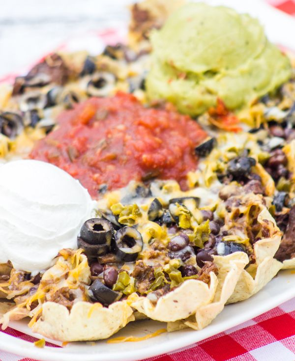 Cowboy Nachos. Adapted this recipe, using 1/2 lb. ground beef, browned ...