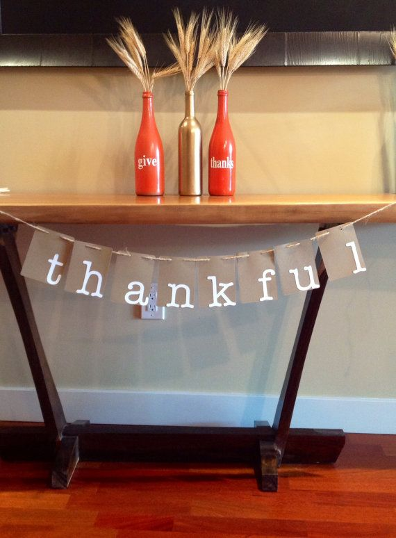 fall decorations. thankful banner. give thanks. thankful. Thankful banner Fall/thanksgiving home decor by SEVENTHandJ, $8.50