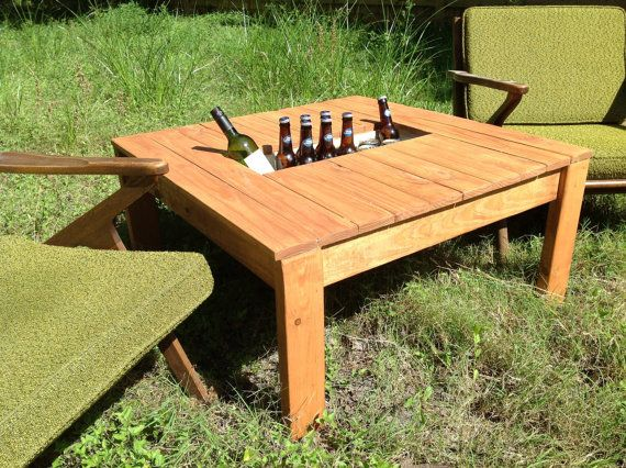 Coffee Patio Table w built in cooler