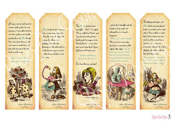 free alice in wonderland bookmarks