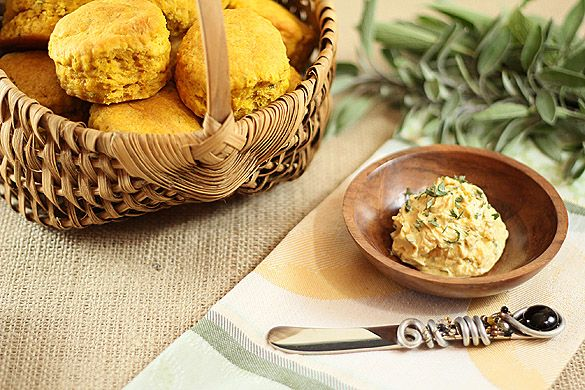 Sage and Caramelized Shallot Brown Butter on Pumpkin and Sage Biscuit ...