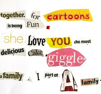 Word choice activity kids make a word collage using words they like