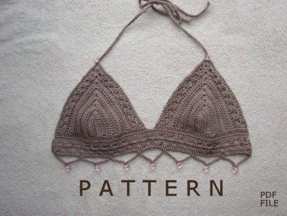Gray Crochet Bikini Top With Beads Intimates Pinterest Crochet