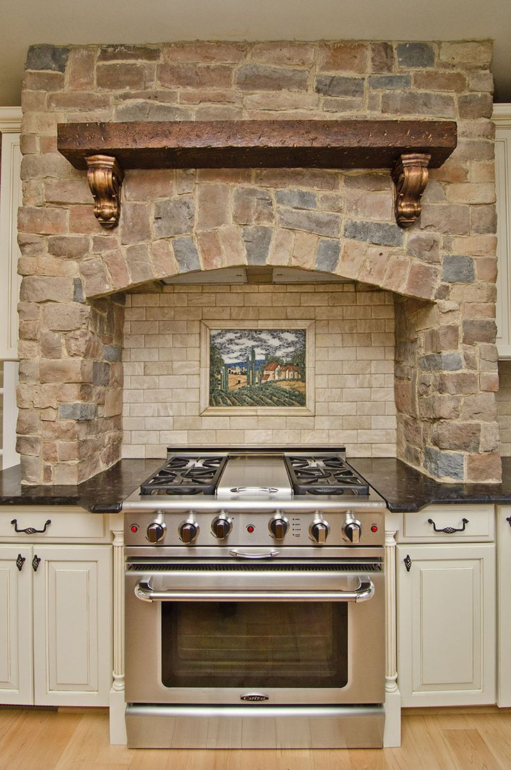 Countertop Around Stove : Leathered Antique Brown Granite and gorgeous stone around the range.