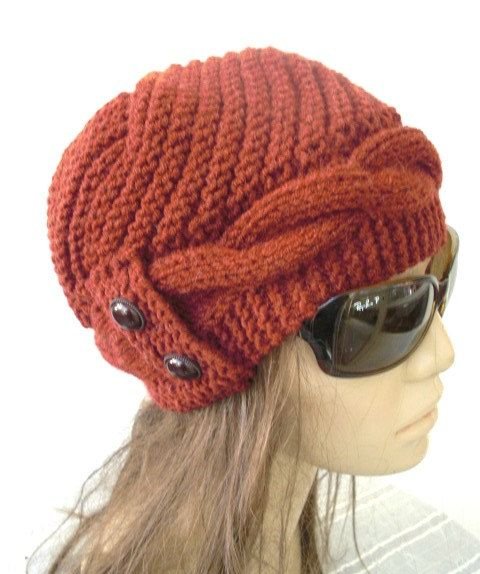 Hand Knitted Hat Patterns : Hand Knit Hat- winter hat - Womens hat Cloche hat in Rust Orange Wint?
