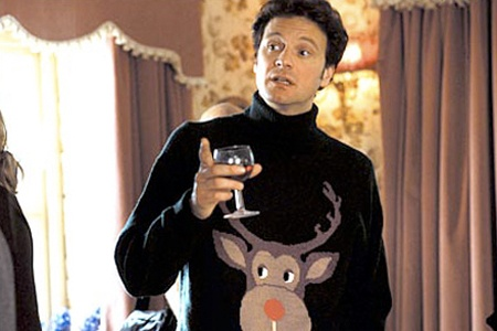 Colin Firth makes this hideous sweater look so good.