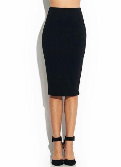 textured bodycon midi skirt in black my closet