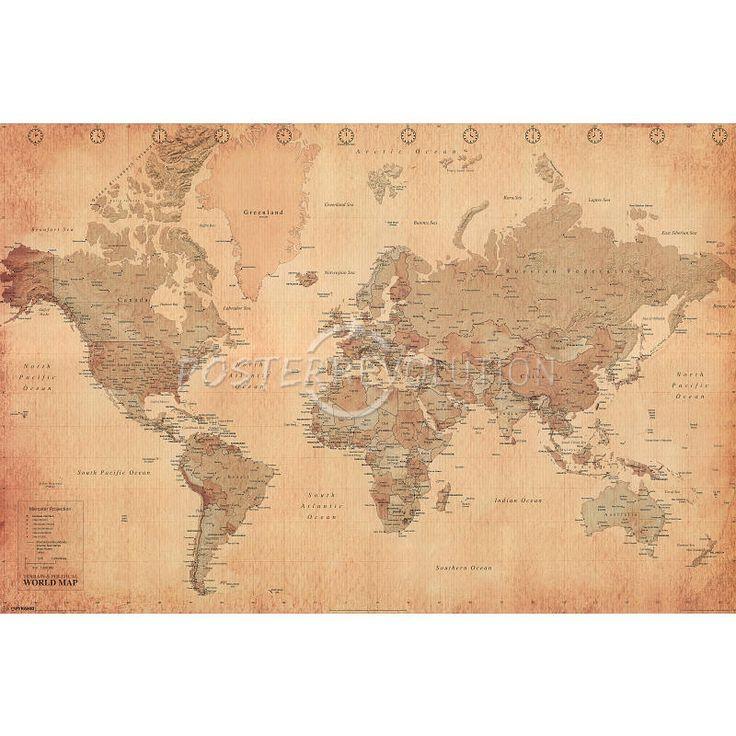 world map vintage style art poster print. Black Bedroom Furniture Sets. Home Design Ideas
