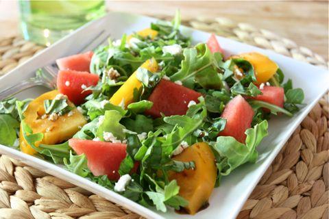 watermelon, heirloom tomato, feta cheese, arugula and balsamic. a ...