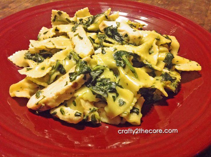 Grilled Chicken Florentine Pasta~ Chicken and spinach in a rich ...