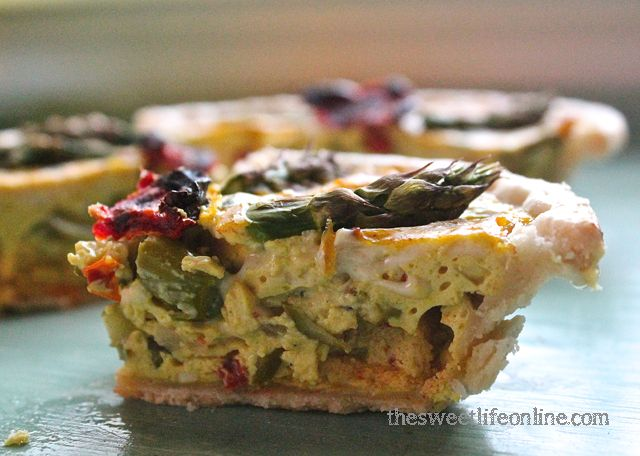 Vegan Asparagus and Sun-dried Tomato Quiche (I would switch out the ...