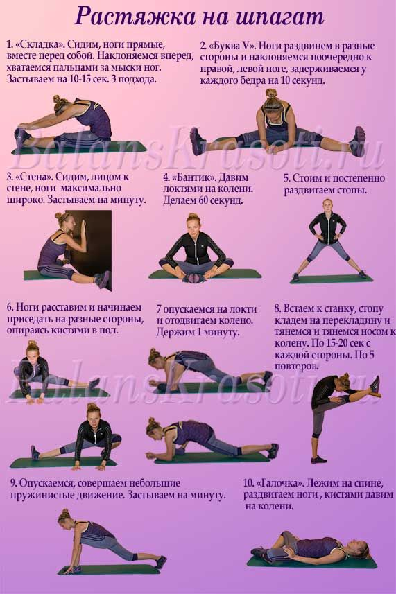 Растяжка для начинающих в домашних условиях упражнения