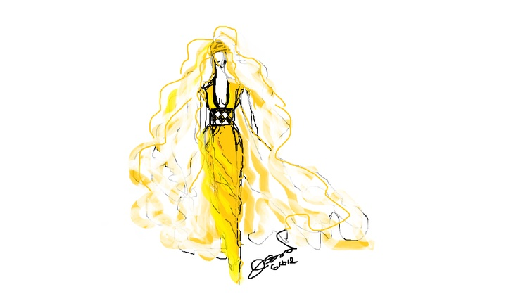 Canary yellow wedding dress