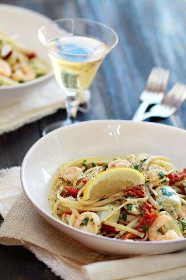 Shrimp Scampi with Sun-Dried Tomatoes and Artichokes | Recipe