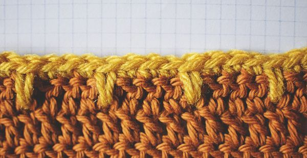 Crochet Stitches Edges : Close Up of Blanket Edge or Spike Stitch Five different edges are ...