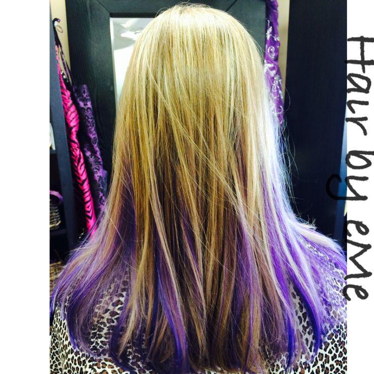 Purple peekaboos and blonde highlights | Hair Ideas | Pinterest