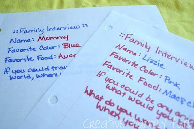 Creative Family Fun Nights idea: Family Interview Night
