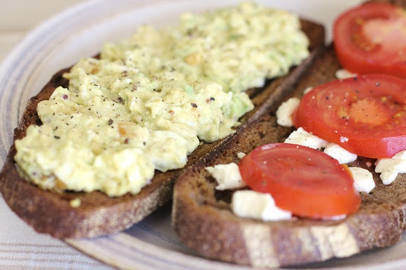 Avocado Egg Salad & Goat Cheese Tomato Toasts maybe as a sandwich, it ...