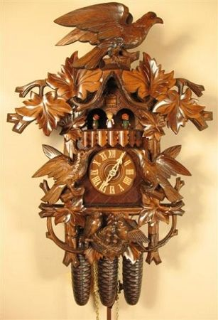 German Original Black Forest Cuckoo Clocks - Black Forest Cuckoo Clock, Musical, Carved Hawk, Model