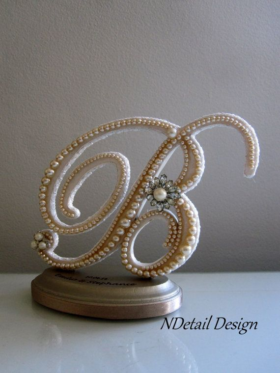 Wedding Cake Topper & Display : Monogram Letter B in Ivory ...