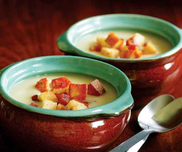 Creamy Potato Soup with Pancetta Croutons | Recipe