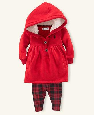 Ralph Lauren Baby Set, Baby Girls Sherpa Hoodie and Plaid Leggings