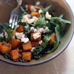 ... with this butternut squash arugula salad with lentils and goat cheese