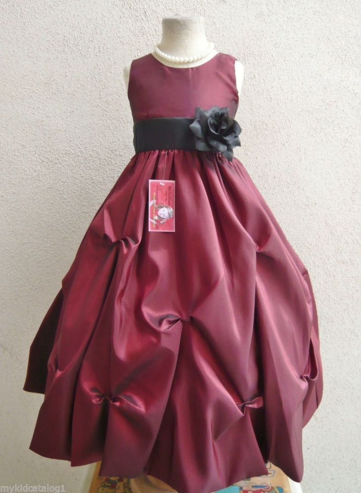 Wine black christmas holiday party flower girl dress size 2 4 6 8 10