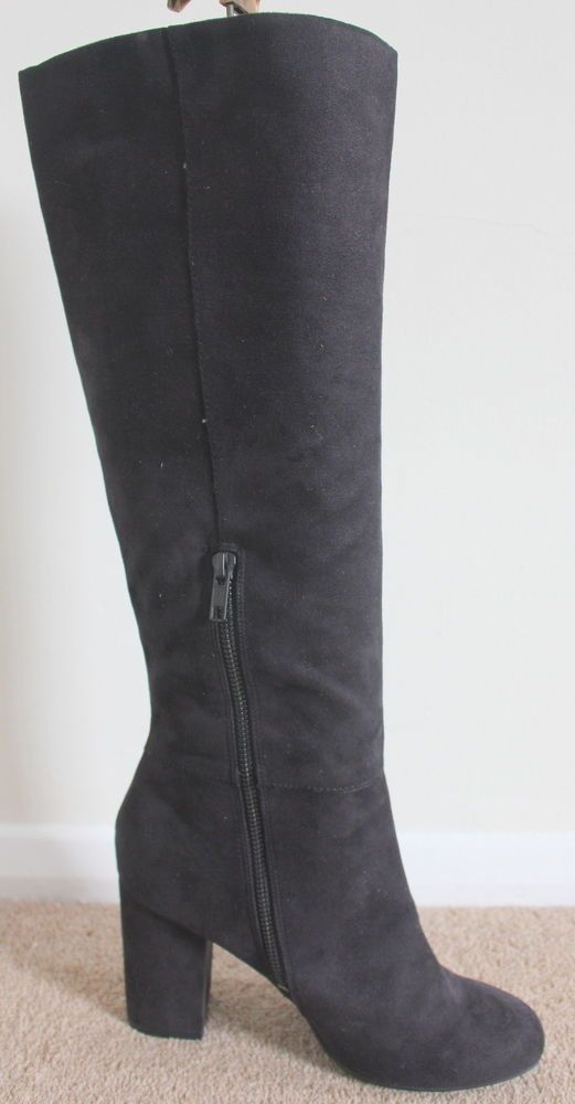 h m size 6 black faux suede knee high block heel boots