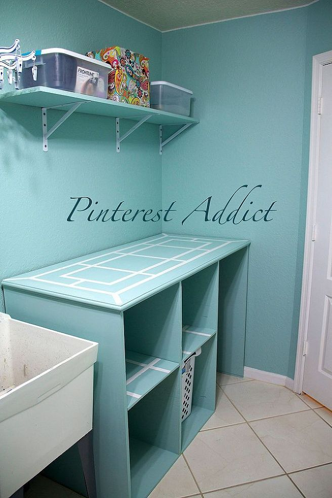 diy folding table and basket storage laundry room