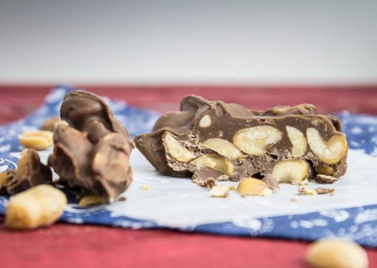 chocolate peanut clusters. Chocolate chips and peanuts. That's it ...