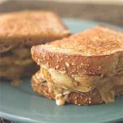 Grilled Banana Sandwich; Banana, peanut butter, cream cheese, and honey. This looks totes amazeballs. yes I said totes amazeballs.