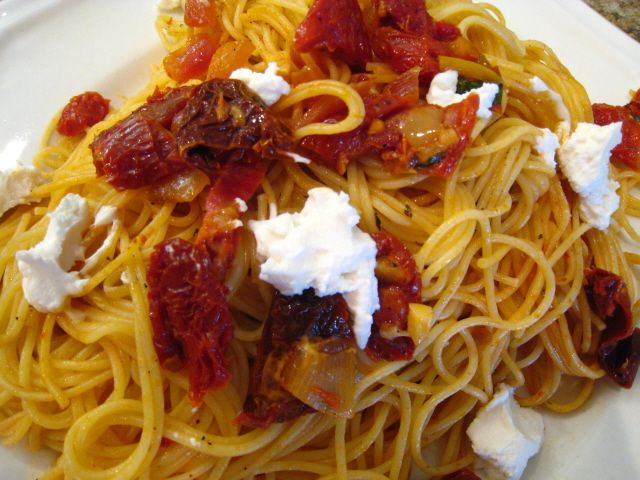 Angel Hair with Sun-dried Tomatoes and Goat Cheese | Recipe