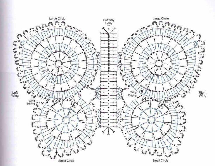 Solo esquemas y diseños de crochet | Butterflies and crochet | Pinter ...