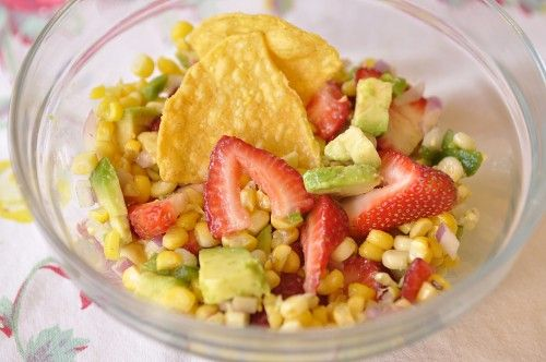 Roasted Corn, Strawberry and Avocado Salsa - your homebased mom