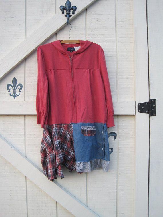 Boho dress hoodie dress patchwork dress Pink gray by ShabyVintage, $48