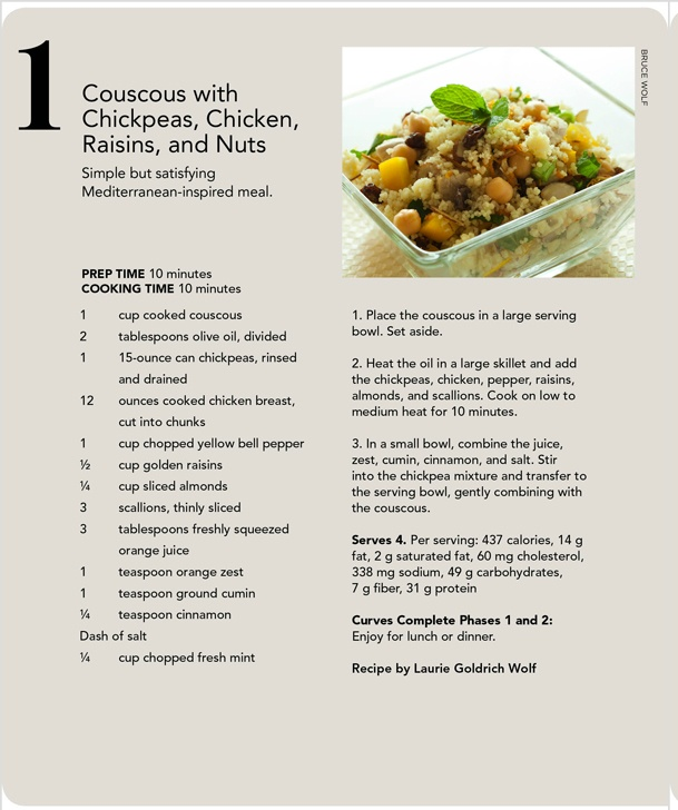 Couscous with Chickpeas, Chicken, Raisins and Nuts