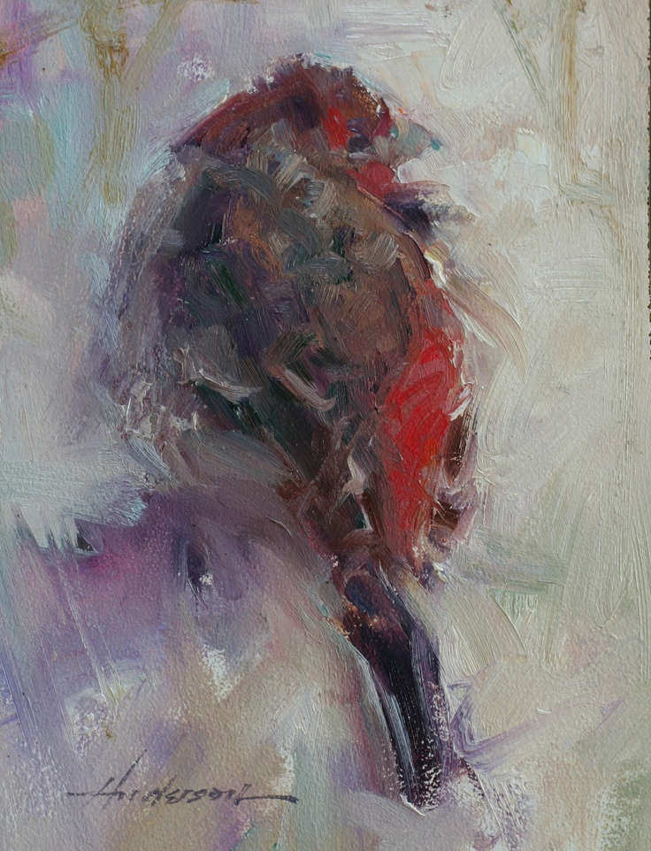 red bird oil painting by Carolyn Anderson