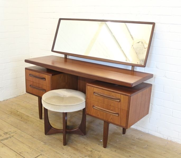 vintage g plan fresco teak dressing table desk with stool 1970s retr. Black Bedroom Furniture Sets. Home Design Ideas