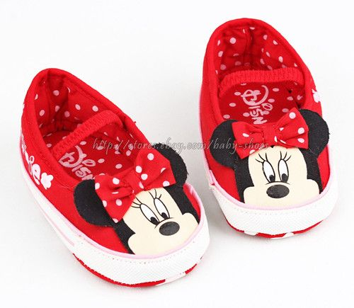 toddler baby minnie mouse slip on crib shoes size 0