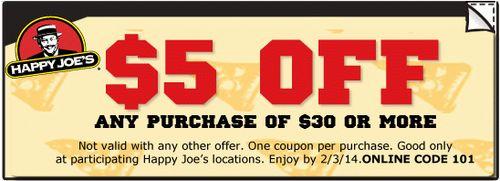 Happy joe's coupon codes