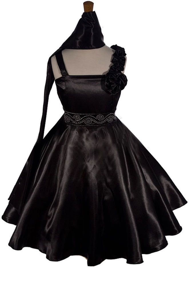 Below Knee Length Black Satin Flower Girl Pageant Graduation Dress ...